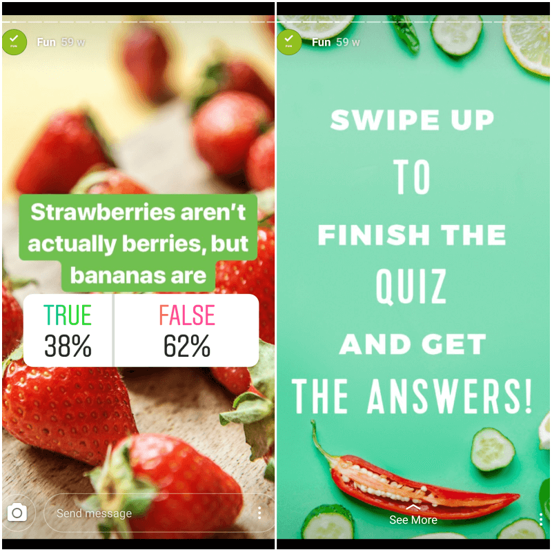 Hellofresh Instagram quiz poll