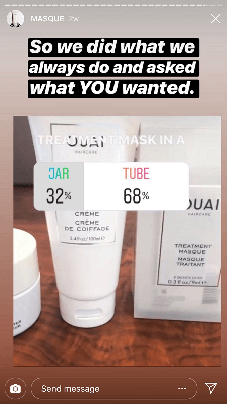 Masque Instagram poll