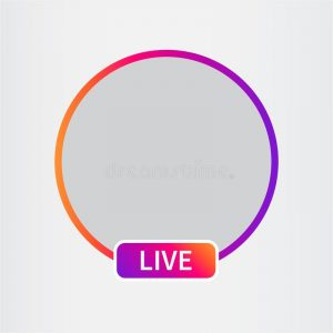 "Colored circle with ""live"" text at bottom"